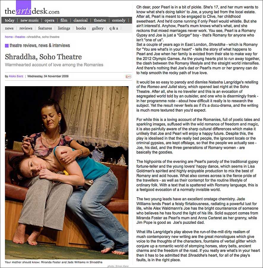 The Arts Desk Review fro Shraddha