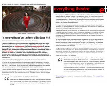 Everything Theatre article on In Memory of Leaves